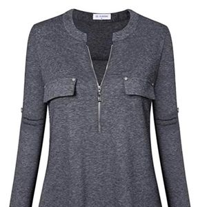 Women's Zip Front V-Neck 3/4 Sleeve Tunic